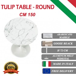 150 cm Tavolo Tulip Marbre Arabescato ronde