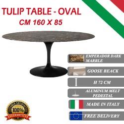 160 x 85 cm Table Tulip Marbre Emperador ovale