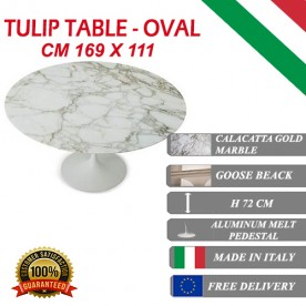 169 x 111 cm oval Tulip table - Gold Calacatta marble