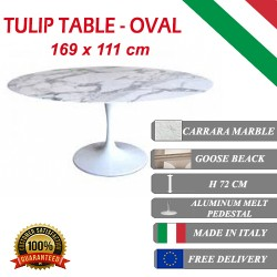 169 x 111 cm oval Tulip table - Carrara marble