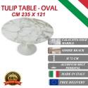 235 x 121 cm oval Tulip table - Gold Calacatta marble