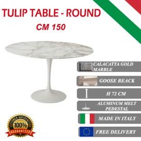 150 cm round Tulip table - Gold Calacatta marble