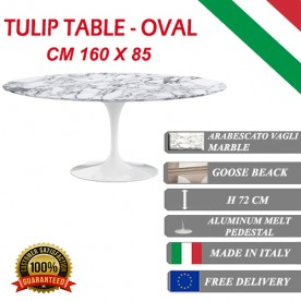 160 x 85 cm Tavolo Tulip Marmo Arabescato ovale