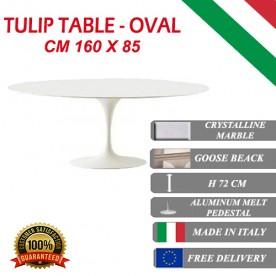 160 x 85 cm Table Tulip Marbre Cristallin ovale