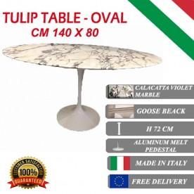 140 x 80 cm Tavolo Tulip Marmo Calacatta pourpre ovale
