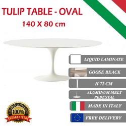 140 x 80 cm Tavolo Tulip Laminato Liquido ovale