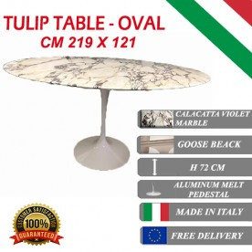 219 x 121 cm Tavolo Tulip Marmo Calacatta pourpre ovale
