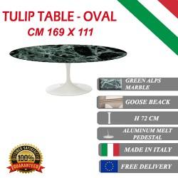 169 x 111 cm Table Tulip Marbre Verte ovale