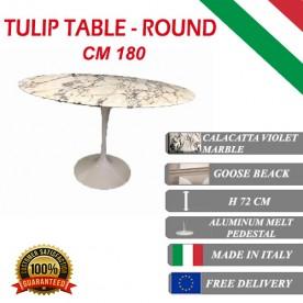180 cm Tavolo Tulip Marbre Calacatta pourpre ronde