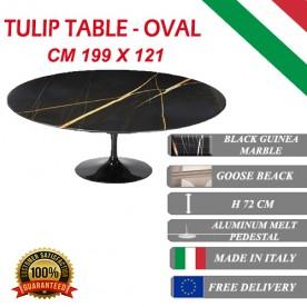 199x121 cm Table Tulip Marbre Noire Guinée ovale