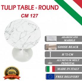137 cm Tavolo Tulip Marbre Arabescato ronde