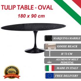 180 x 90 cm oval Tulip table - Black Marquinia marble