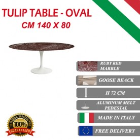 140 x 80 cm Table Tulip red marble ovale