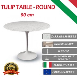 90 cm Tavolo Tulip Marmo Carrara rotondo