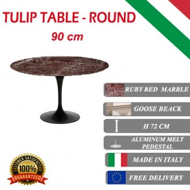 90 cm round Tulip table - Ruby red marble