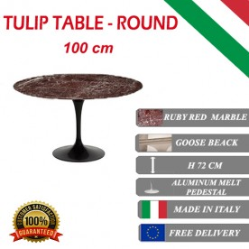 100 cm Tulip table red marble