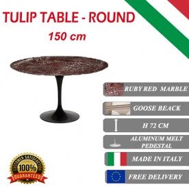 150 cm round Tulip table - Ruby red marble