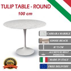 100 cm Tavolo Tulip Marbre Carrara ronde