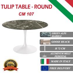 107 cm Tavolo Tulip Marbre Verte ronde